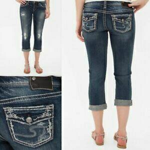 Silver Aiko Cropped Jeans Capri Distressed Stretch